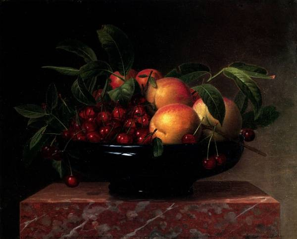 Peaches And Cherries In A Bowl On A Marble Ledge
